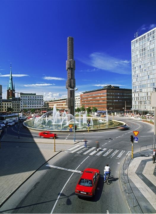 The glass obelisk at Sergelstorg roundabout in Stockholm