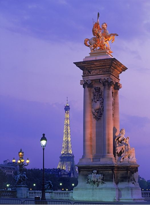Column on Pont Alexandre III with Eiffel Tower