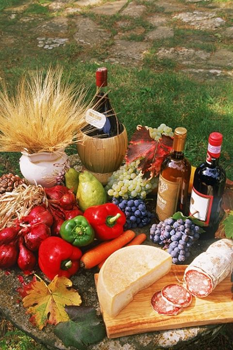 Colorful variety of food and wines from Tuscany
