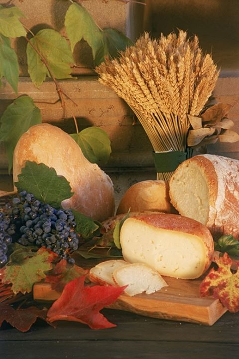 Grapes cheese bread and autumn leaves at Uzzano Castle in Tuscany Italy