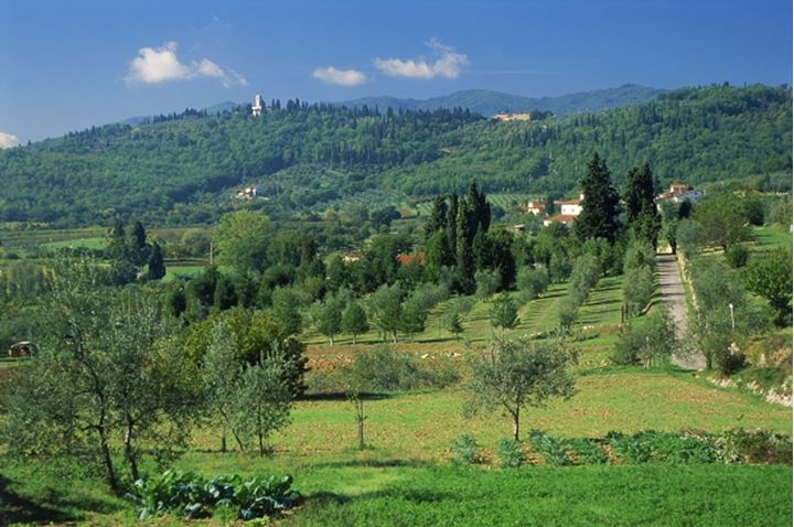 Rolling landscapes of Chianti region of Toscana Italy