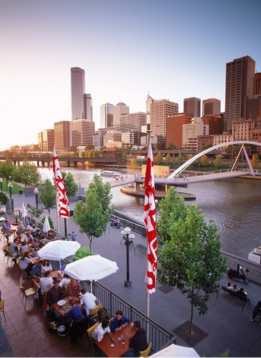 Dining at Southgate Complex on Yarra River under Melbourne Skyline with Queens Bridge