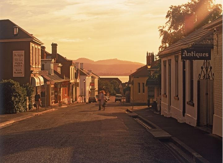 Shops and street at Battery Point in Hobart Tasmania Australia