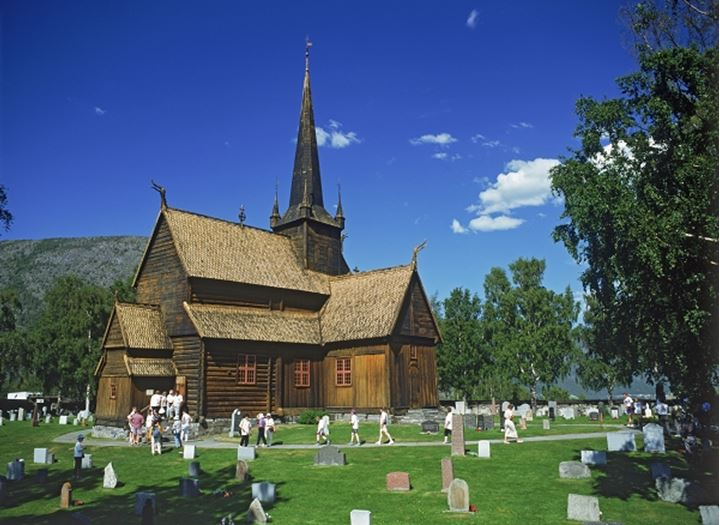 Stave church at Lom in More Romsdal region of Norway