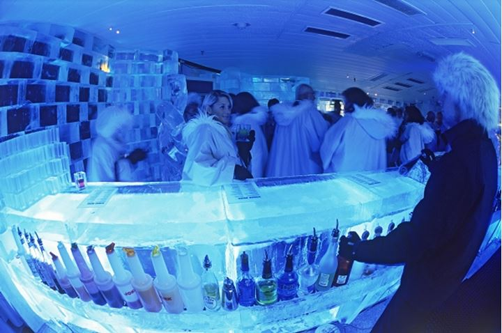 Having cocktails at Ice Bar in Nordic Sea Hotel in Stockholm