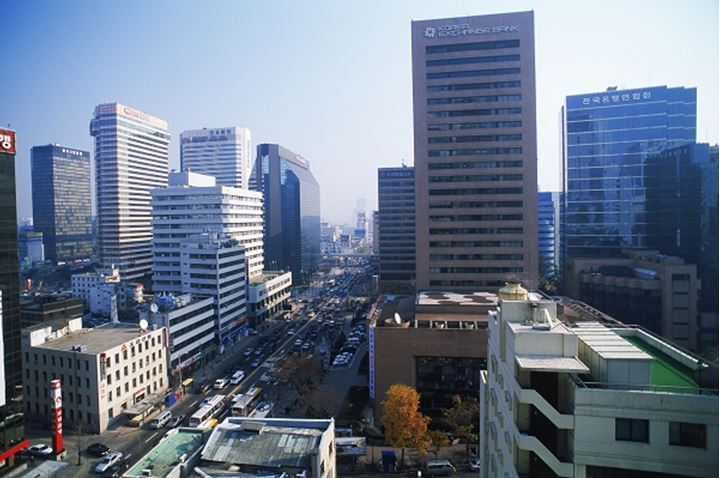 Financial District around Lotte World in Seoul South Korea