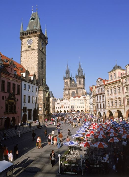 Old Town Square and Old Town Hall with Tyn Church in Prague