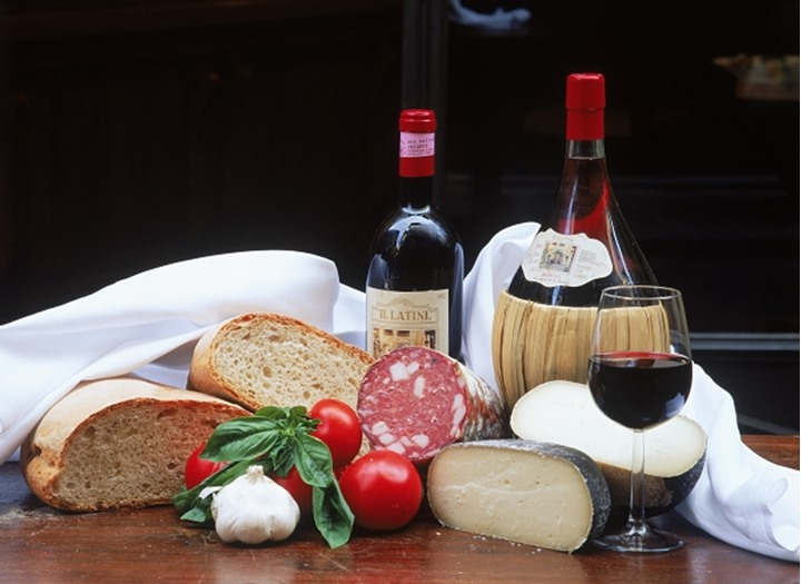 Bread, cheese, sausages and wine in Tuscany