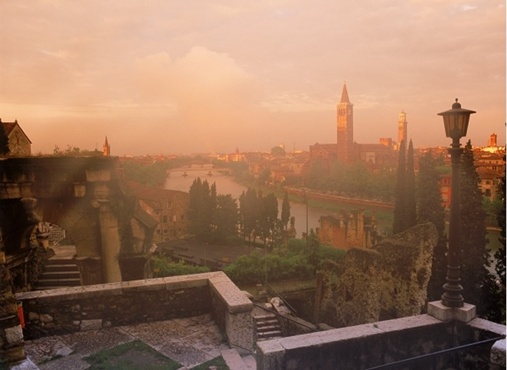 View of Verona along Adige River from San Pietro Castle at dawn