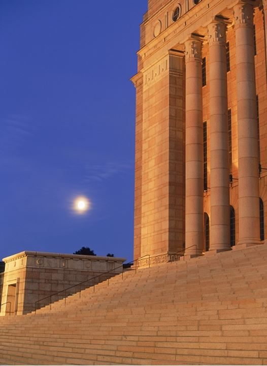 The Parliament House in Helsinki with full moon