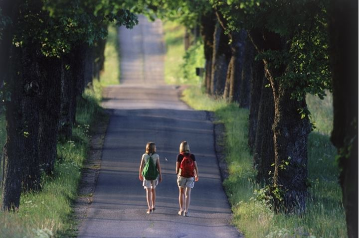 Two young girls with school backpacks walking on tree-lined country road in Sweden