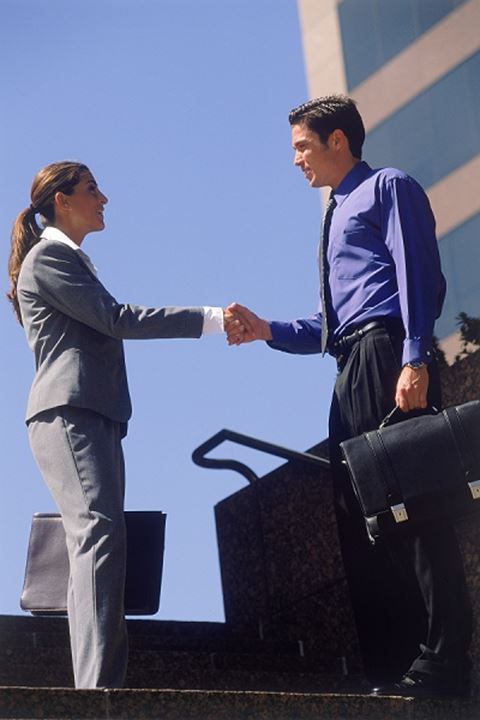 Businessman & woman w,briefcases shaking hands