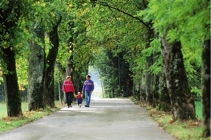 Family of three on tree lined country road near Munich Germany