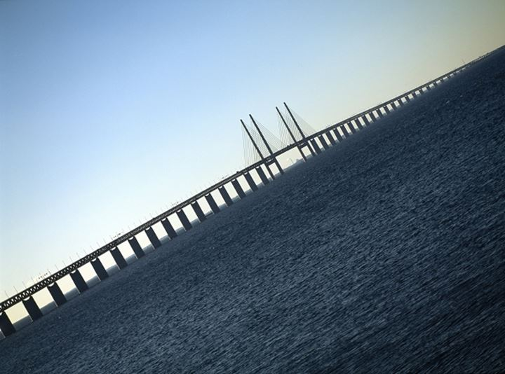Suspension bridge across the sea, Malmoe, Oresund Link, Sweden