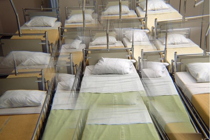 High angle view of beds in a storage room
