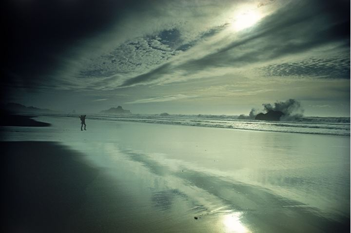 Man alone with the wind and waves on Oregon coast