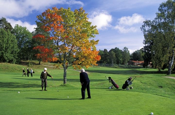 Twosome teeing off at Stockholm Golf Club in autumn
