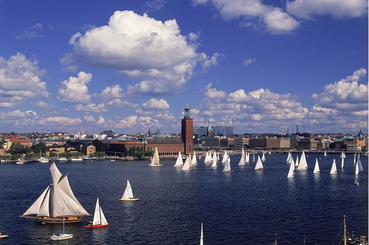 Yachting Day on the Riddarfjarden with Town Hall in Stockholm