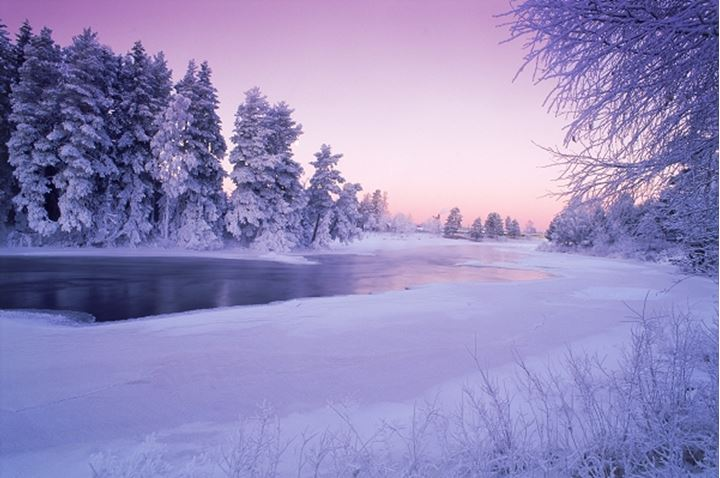 Low winter light over Dal River in Sweden