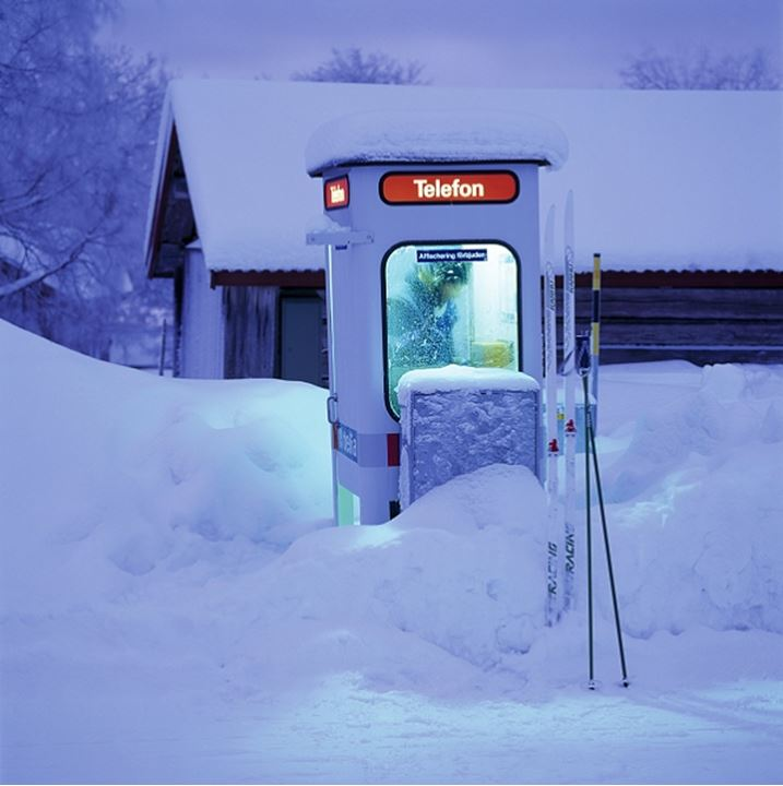 A snowed in telephone cell, Sweden