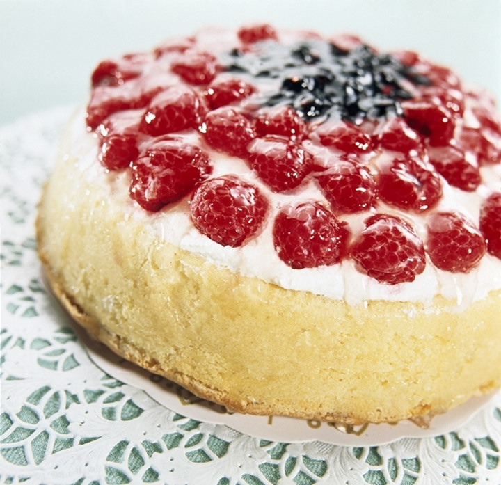 Close-up of raspberries on a pastry