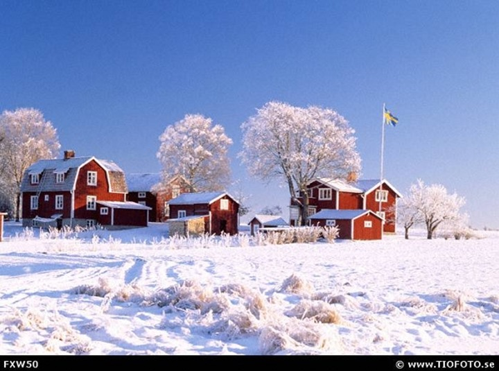 Sweden, Darlana - Residential buildings on a snow covered landscape