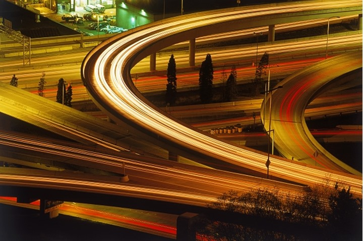Cement ribbons of light at freeway interchange