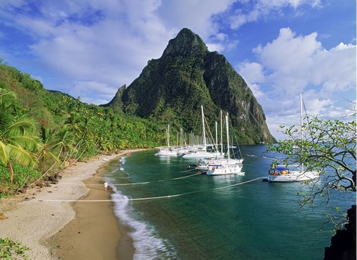Petit Piton above Margretoute Bay on St Lucia near Soufriere in West Indies