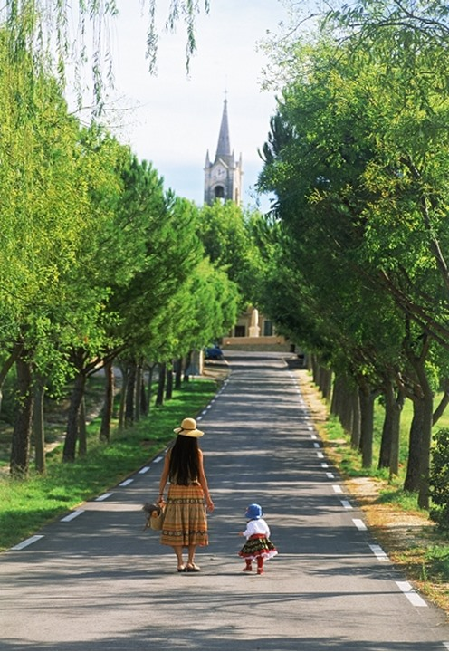 Mother and daughter at village of Villars in Provence France