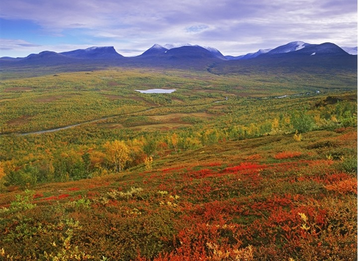 Symbol of Lappland is Lapporten in Abisko National Park above Arctic Circle in Sweden