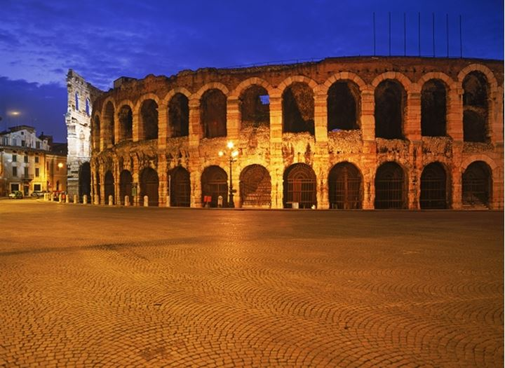 The Arena on Piazza Bra at night in Verona