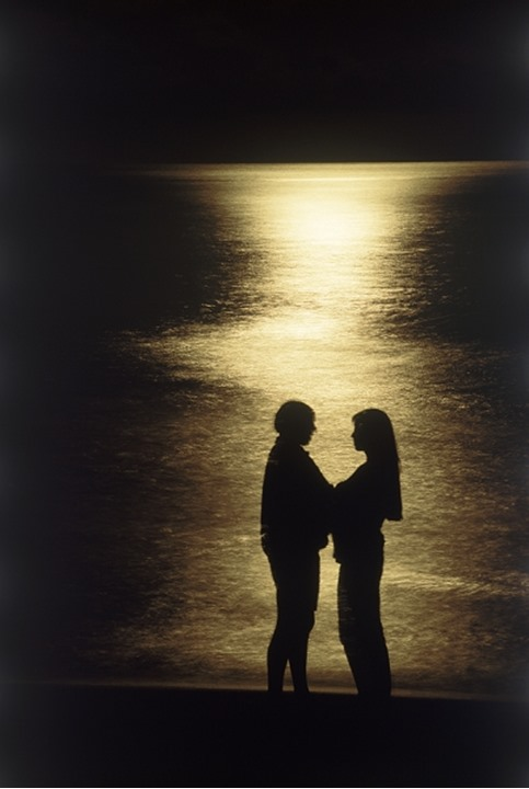 Couple on beach sillhouetted in moonlight