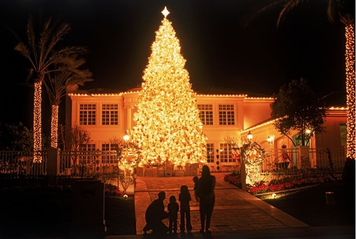 Giant Christmas tree brightly lit at private residence in Southern California