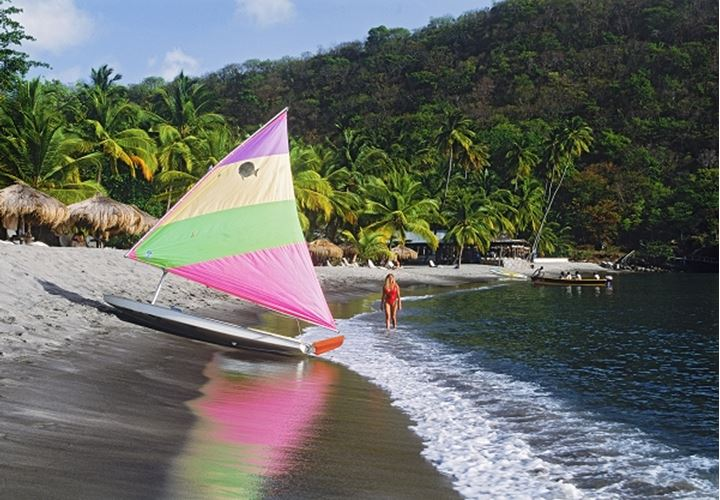 Anse Chastanet Hotel beach on Caribbean island St Lucia in West Indies