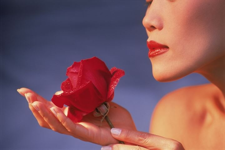 Woman with Red lipstick sensually holding red rose