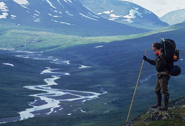 Hiker in Rapadalen Valley in Sarek National Park in Swedish Lapland