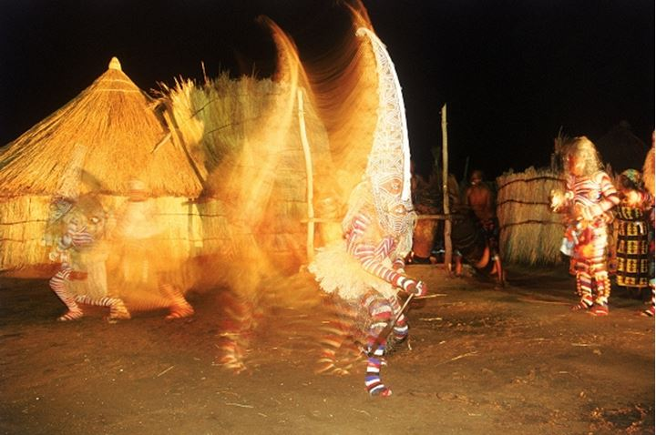 Dancers in traditional costumes in cultural show at Victoria Falls Hotel in Zimbabwe