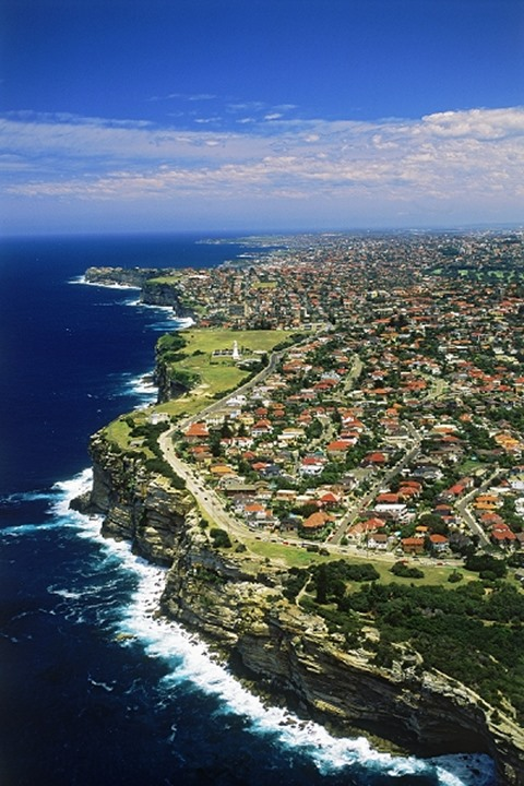 Aerial view of South Head Peninsula at entrance to Sydney Harbour