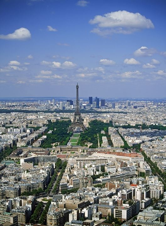 Aerial view of La Defense and Eiffel Tower in Paris