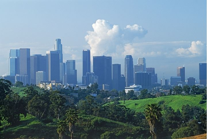 Downtown Los Angeles skyline from Elysian Park