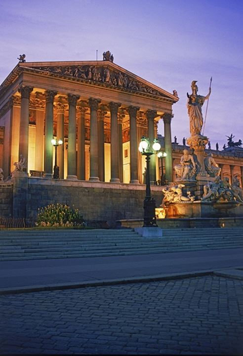 Parliment and Athena Statue in Vienna Austria