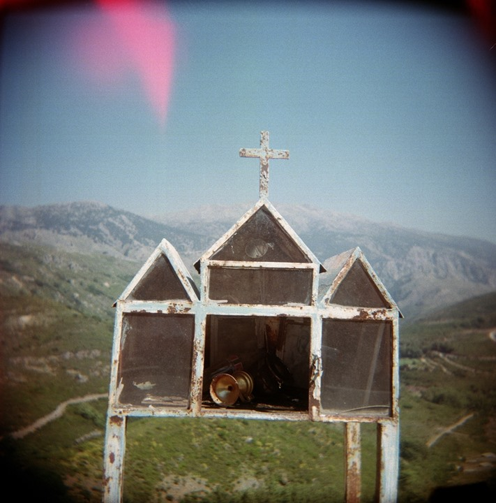 Christian church model in mountains