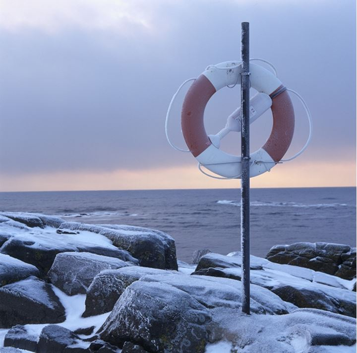 A ring-buoy by the sea in winter, Sweden