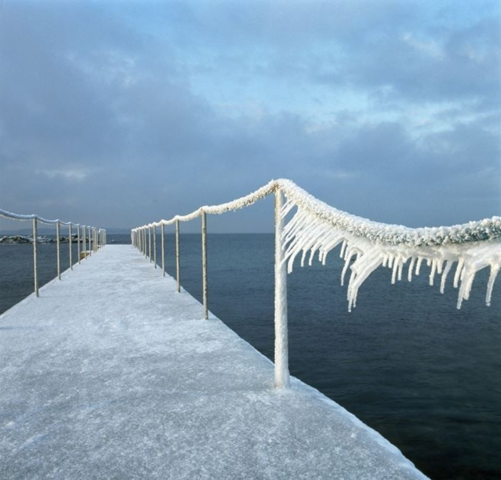 Pier covered with snow