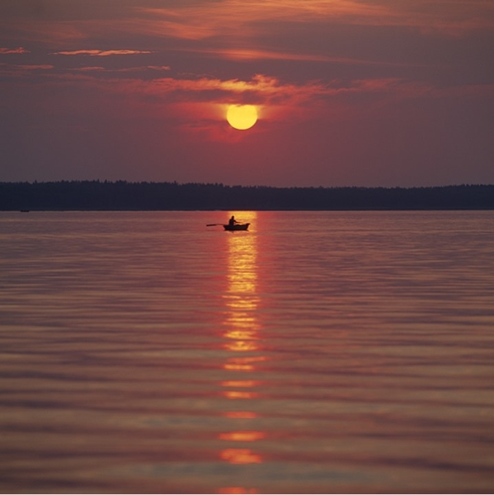 Silhouette of a person rowing a boat at dusk, Sweden