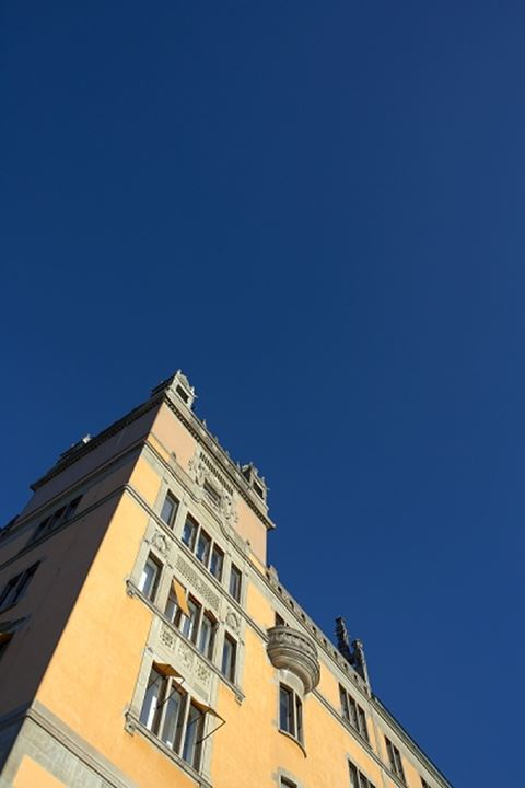 Yellow building beneath clear blue sky, Sweden