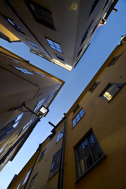 View up from a narrow T-junction in Stockholm, Sweden