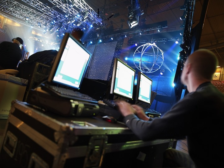 Computers being used for managing a show in Scandinavium, Gothenburg, Sweden
