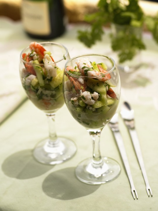 Salad in wine glasses