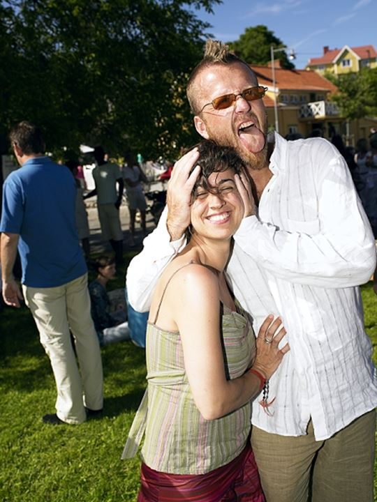 Two people having a good time